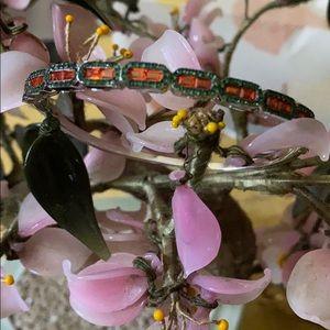 Vintage 925 emerald ruby bracelet